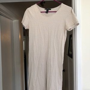 Forever 21 Black & White Striped Tee Shirt Dress
